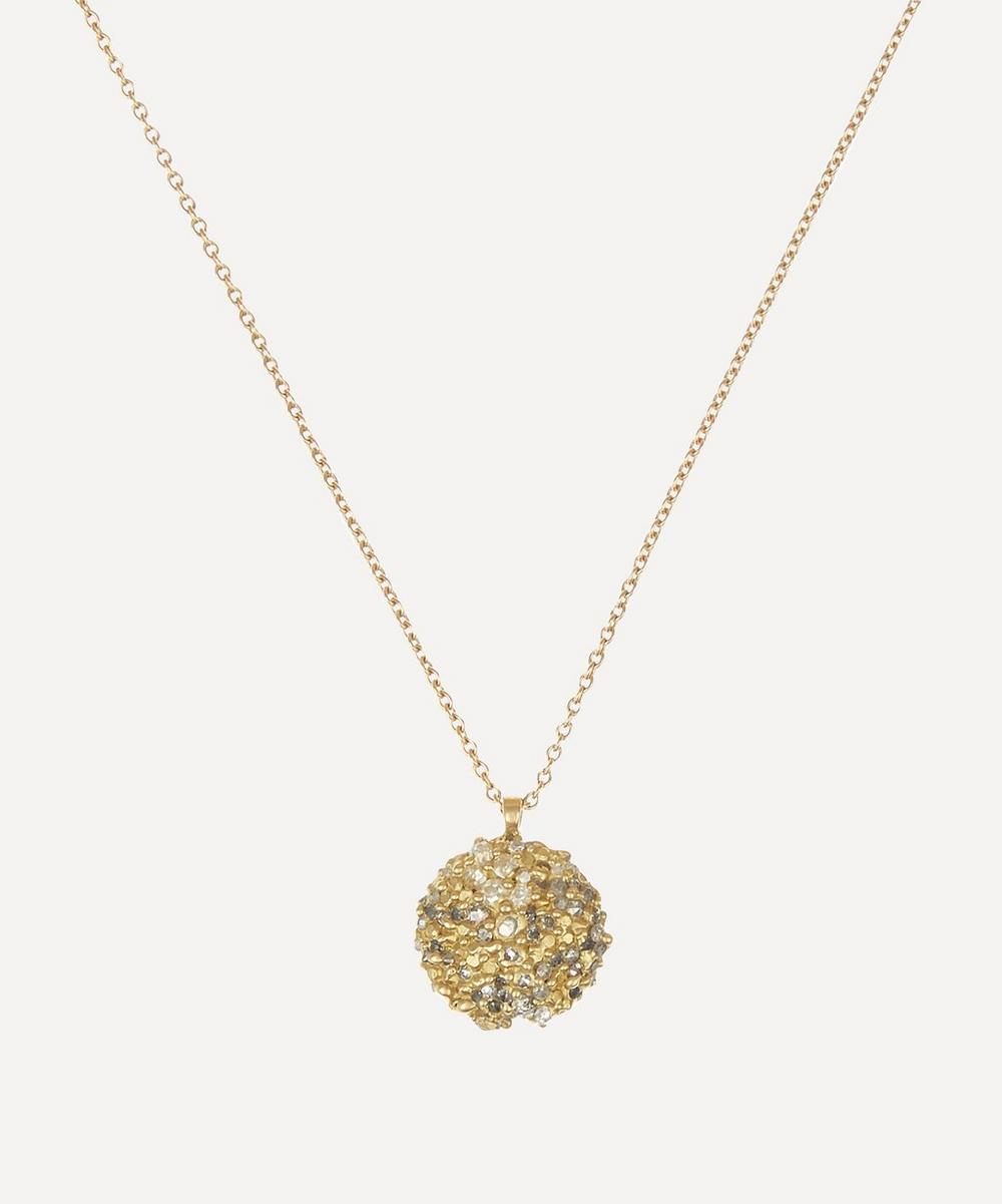Polly Wales - Gold Diamond Dome Pendant Necklace