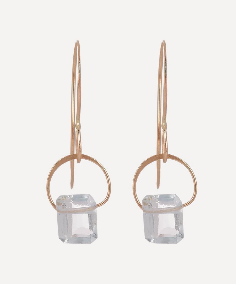 Melissa Joy Manning - Gold Emerald Cut Aquamarine Drop Earrings