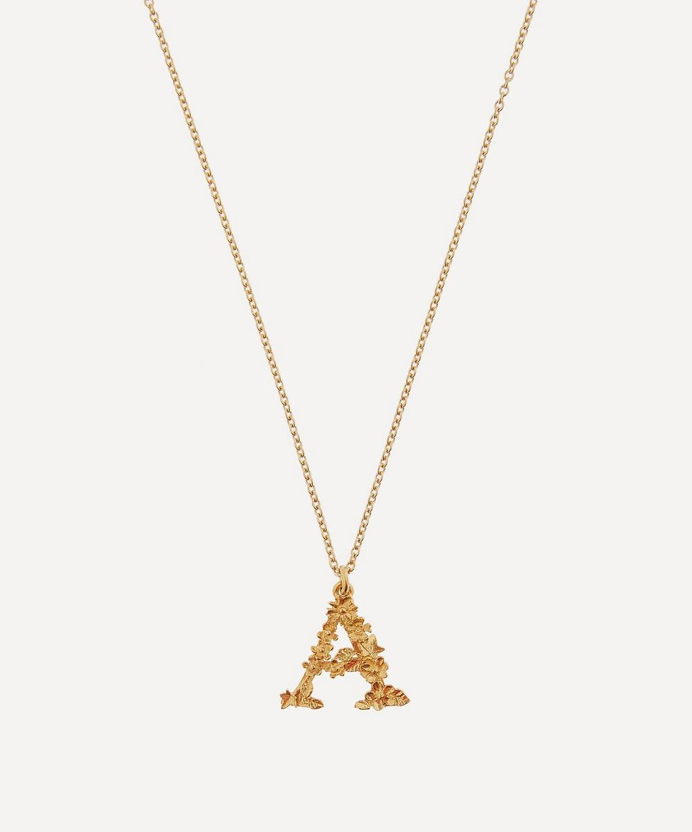 Alex Monroe - Gold-Plated Floral Letter A Alphabet Necklace