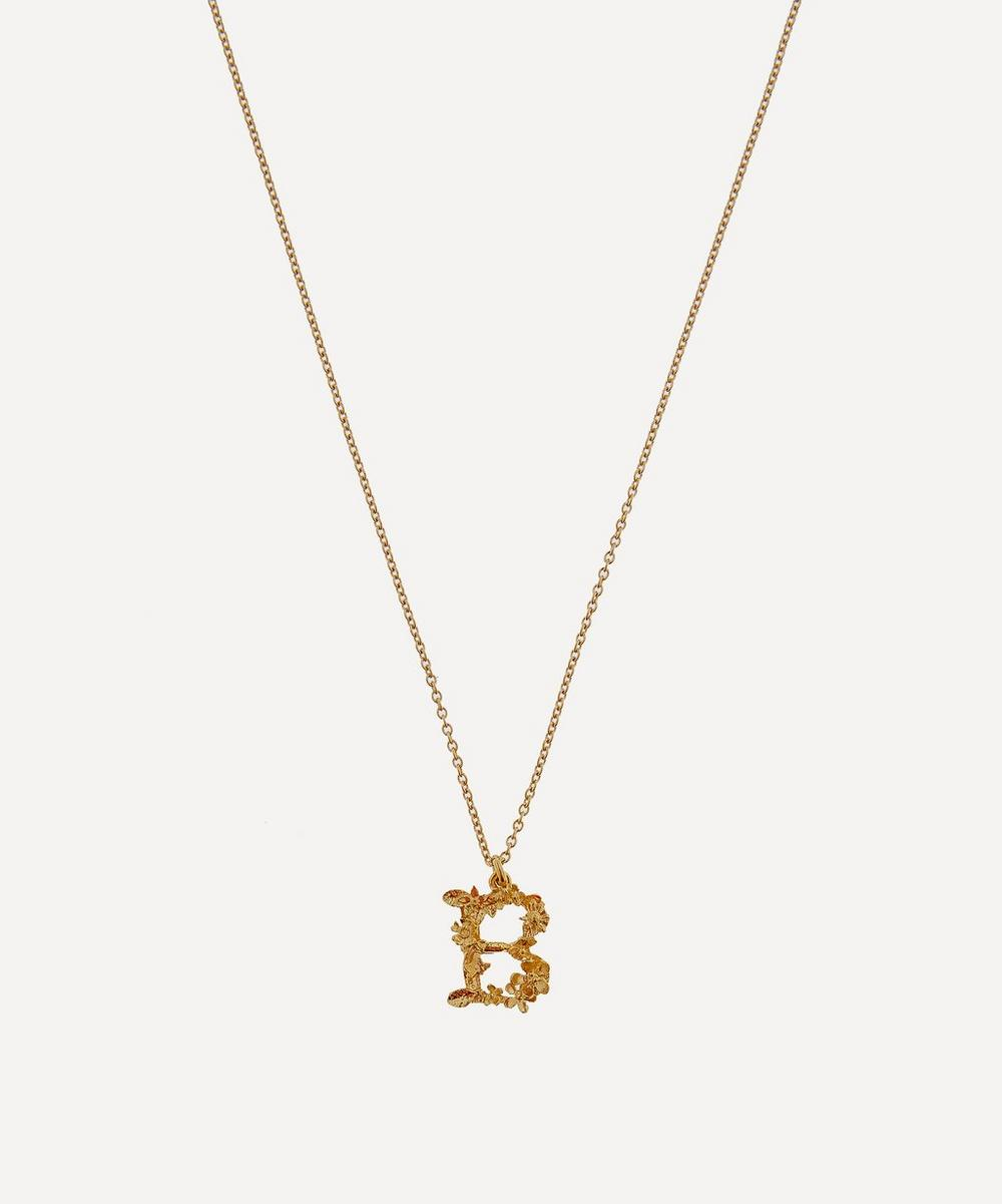 Alex Monroe - Gold-Plated Floral Letter B Alphabet Necklace