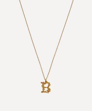 Gold-Plated Floral Letter B Alphabet Necklace