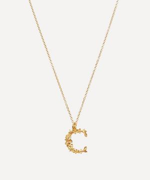 Gold-Plated Floral Letter C Alphabet Necklace