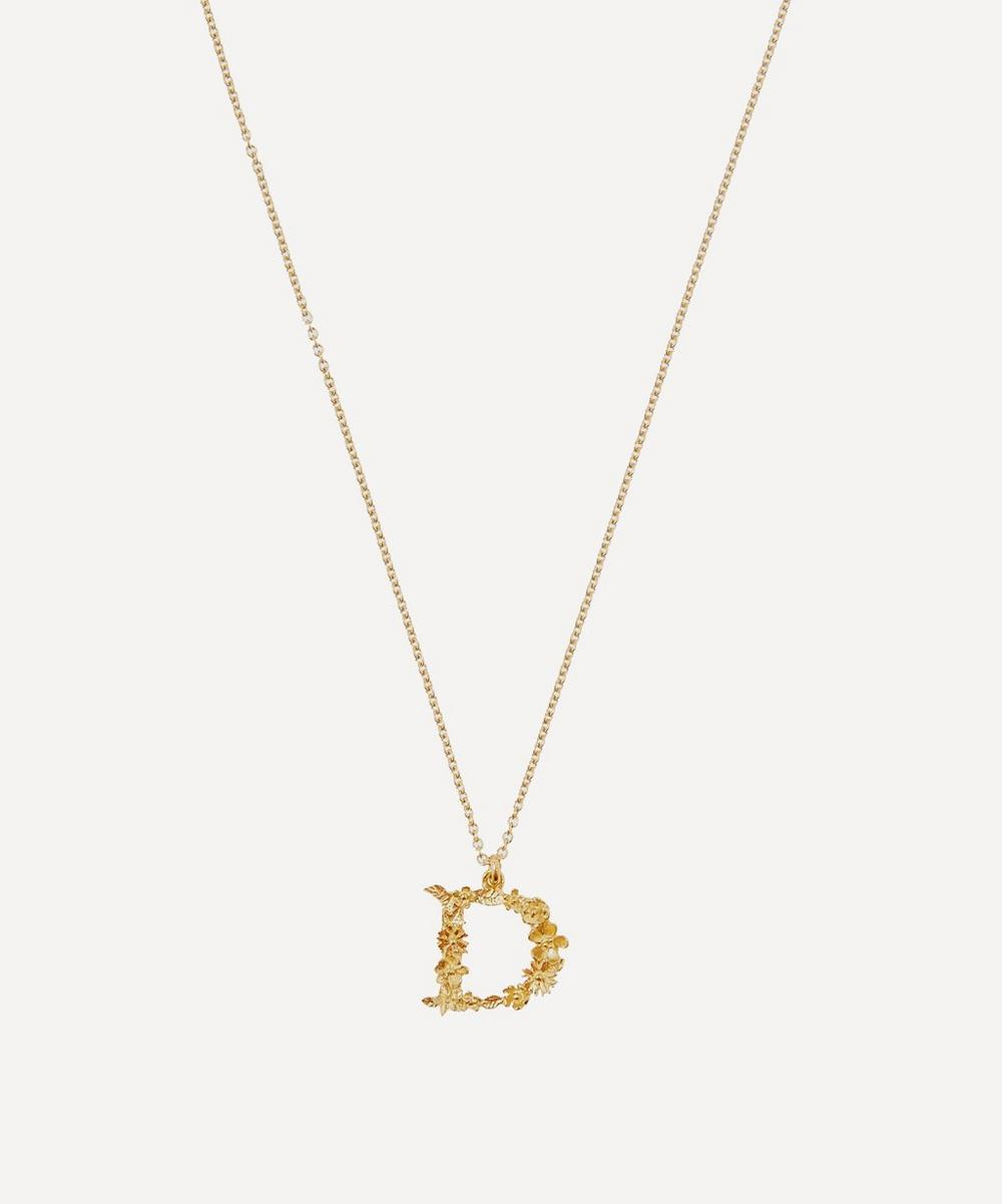 Alex Monroe - Gold-Plated Floral Letter D Alphabet Necklace