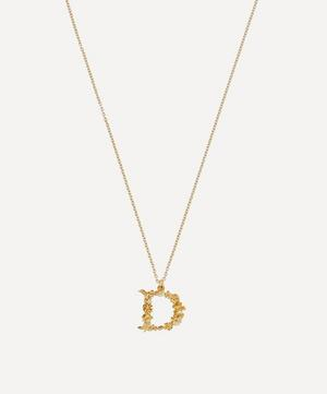 Gold-Plated Floral Letter D Alphabet Necklace
