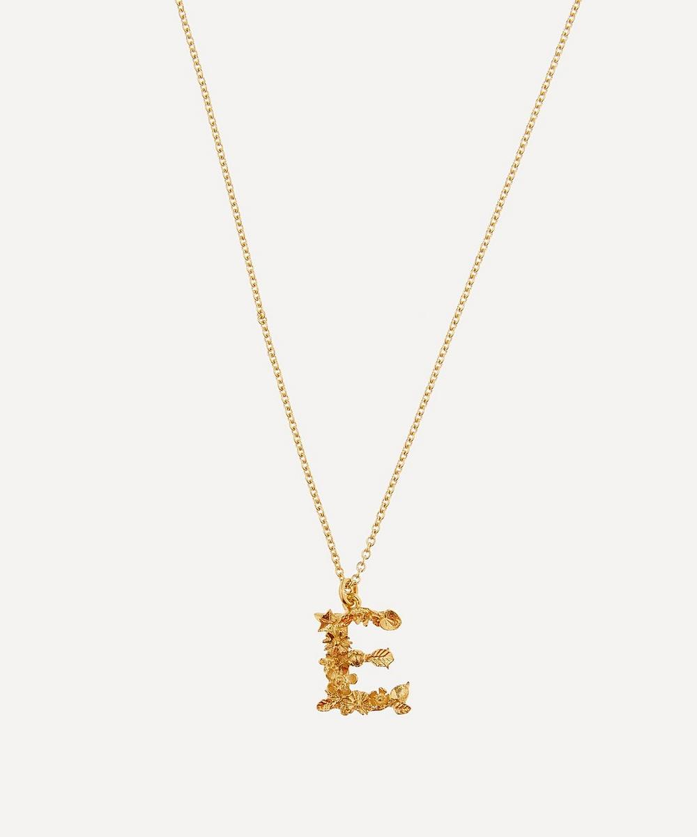 Alex Monroe - Gold-Plated Floral Letter E Alphabet Necklace