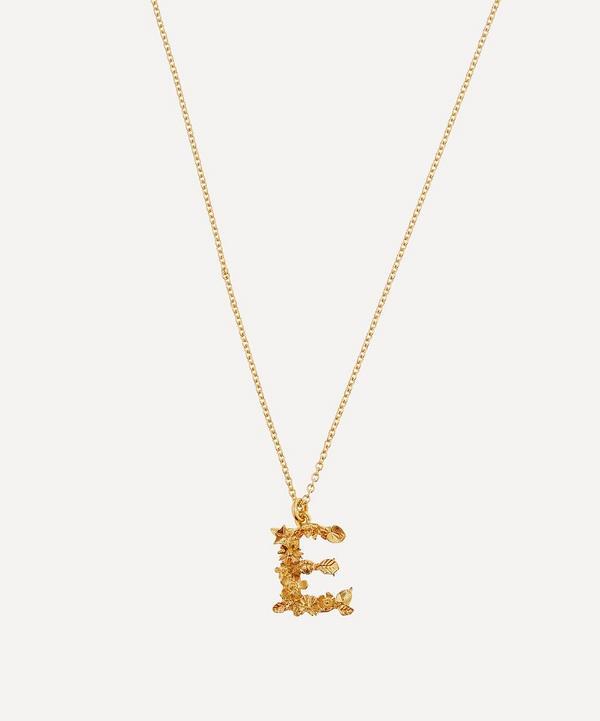 Alex Monroe - Gold-Plated Floral Letter E Alphabet Necklace