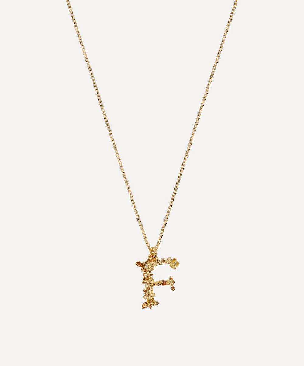 Alex Monroe - Gold-Plated Floral Letter F Alphabet Necklace