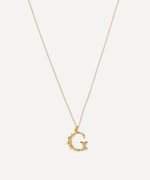 Gold-Plated Floral Letter G Alphabet Necklace