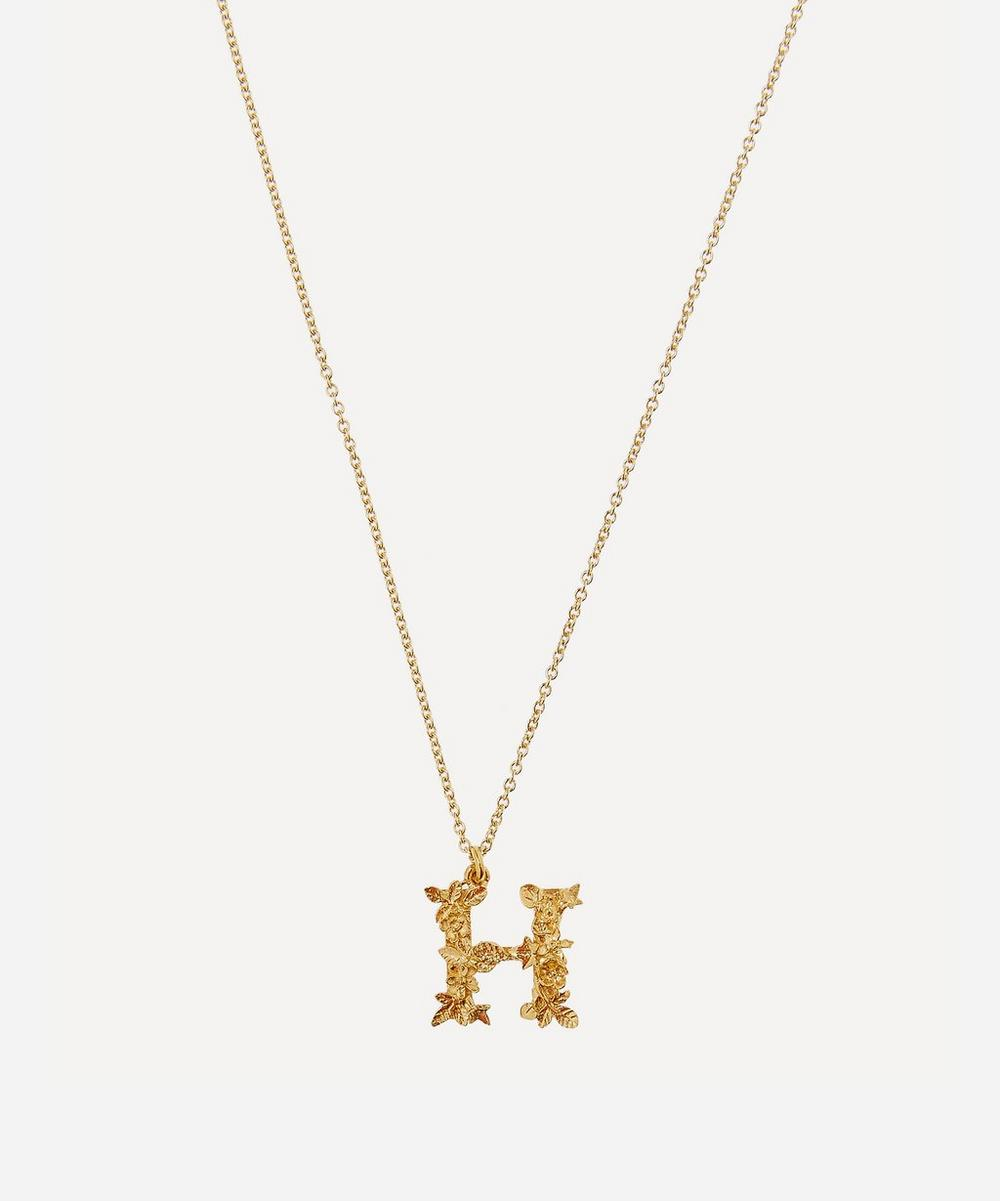 Alex Monroe - Gold-Plated Floral Letter H Alphabet Necklace