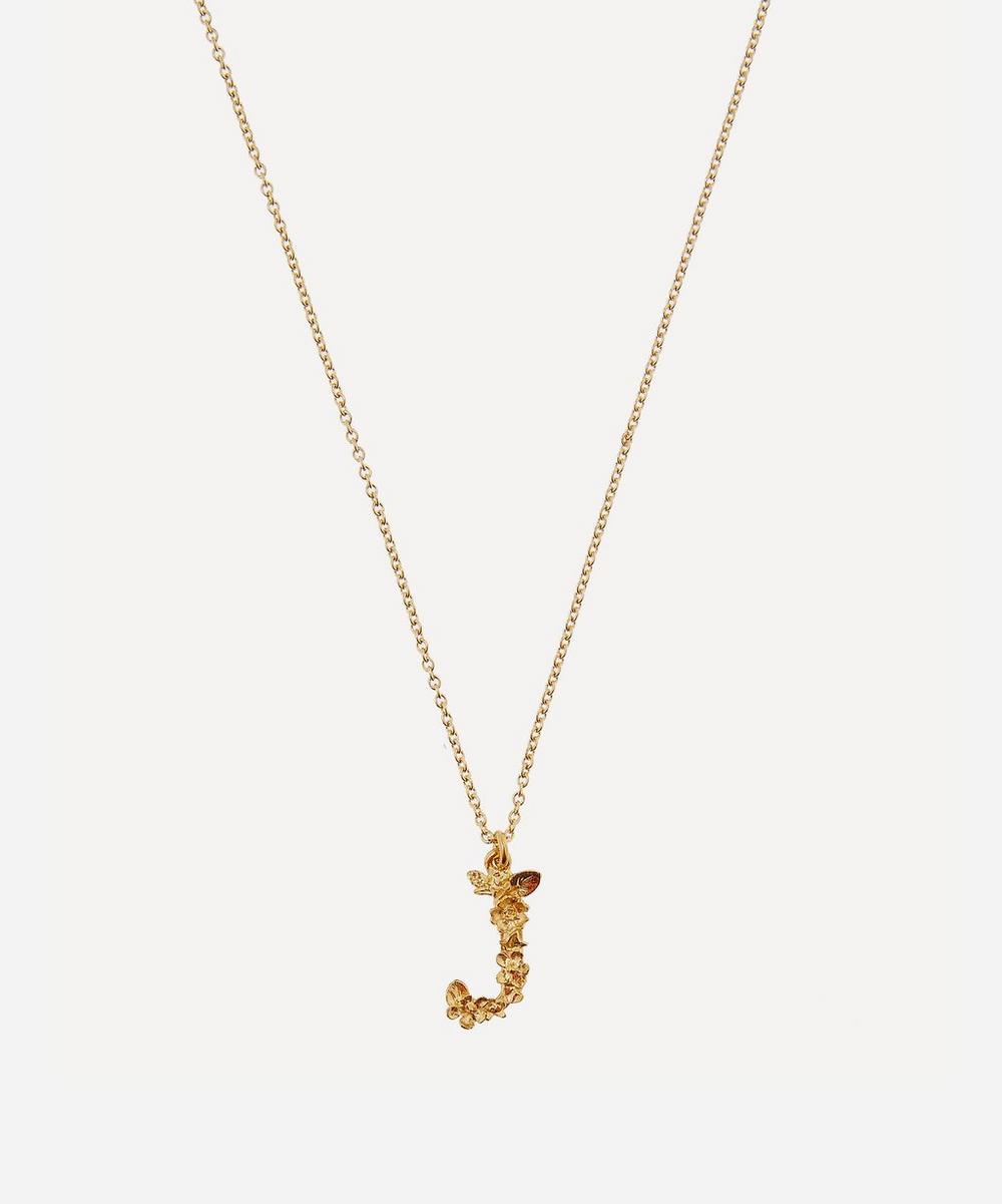Alex Monroe - Gold-Plated Floral Letter J Alphabet Necklace