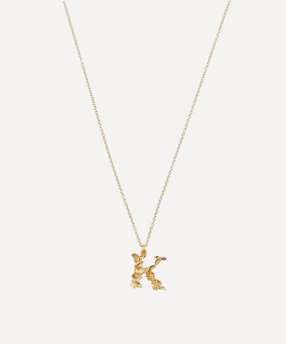 Alex Monroe - Gold-Plated Floral Letter K Alphabet Necklace