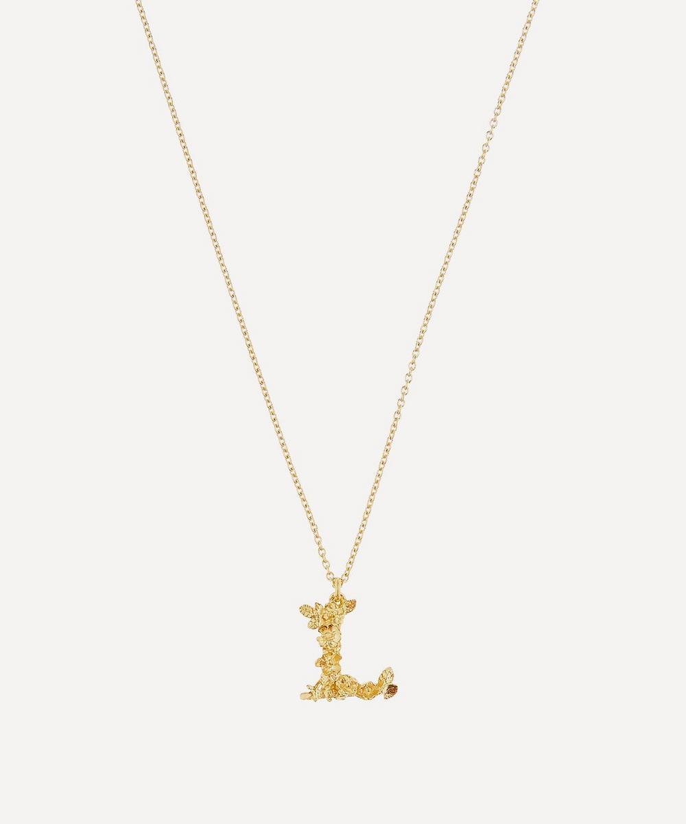 Alex Monroe - Gold-Plated Floral Letter L Alphabet Necklace