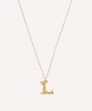 Gold-Plated Floral Letter L Alphabet Necklace