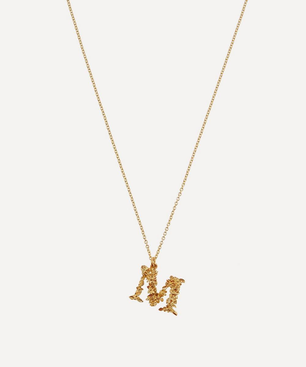 Alex Monroe - Gold-Plated Floral Letter M Alphabet Necklace