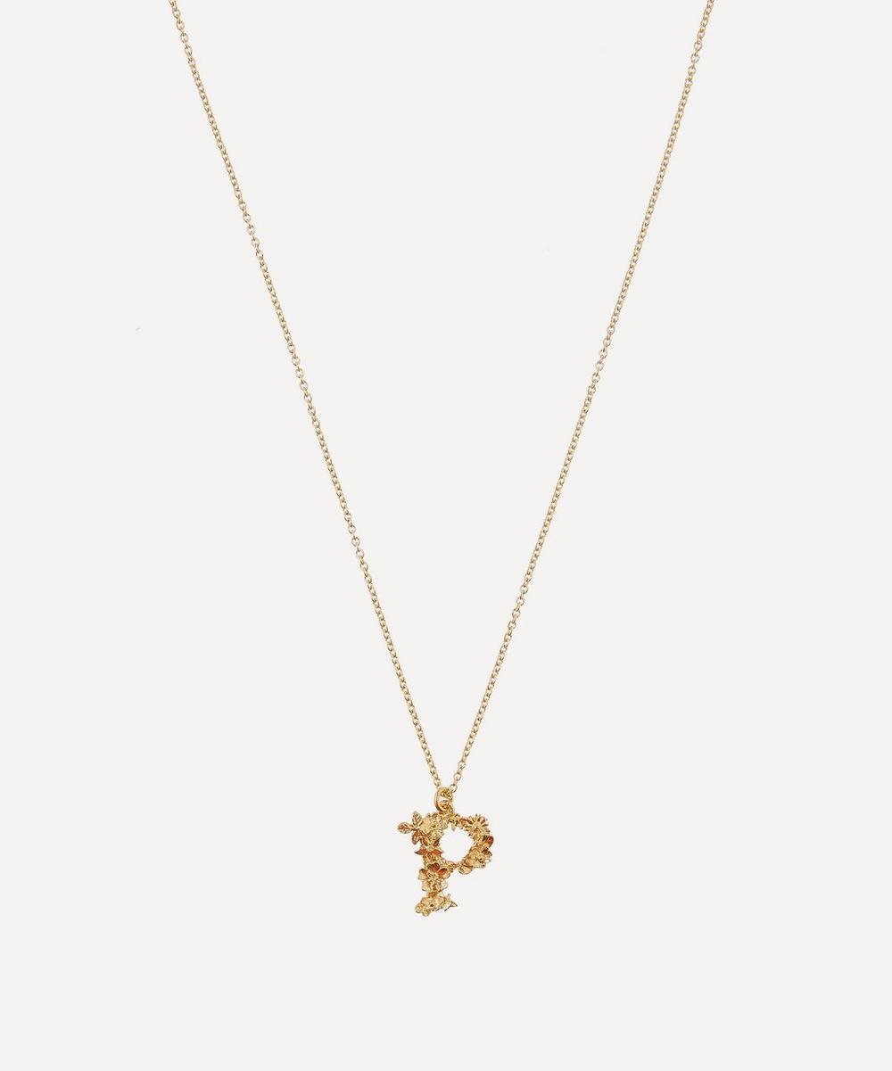 Alex Monroe - Gold-Plated Floral Letter P Alphabet Necklace