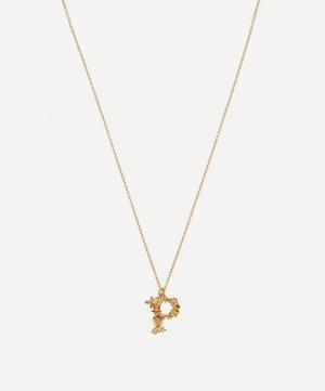 Gold-Plated Floral Letter P Alphabet Necklace