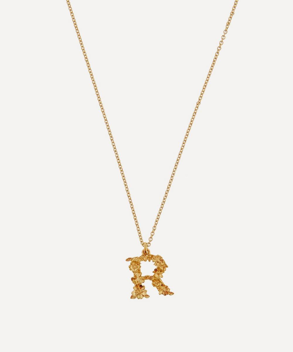 Alex Monroe - Gold-Plated Floral Letter R Alphabet Necklace