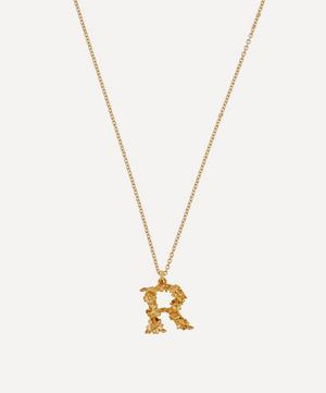 Gold-Plated Floral Letter R Alphabet Necklace