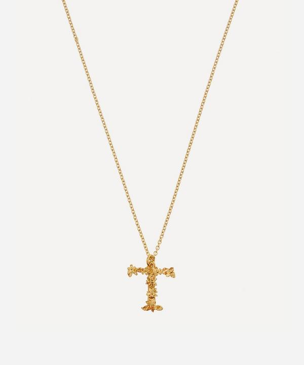 Alex Monroe - Gold-Plated Floral Letter T Alphabet Necklace