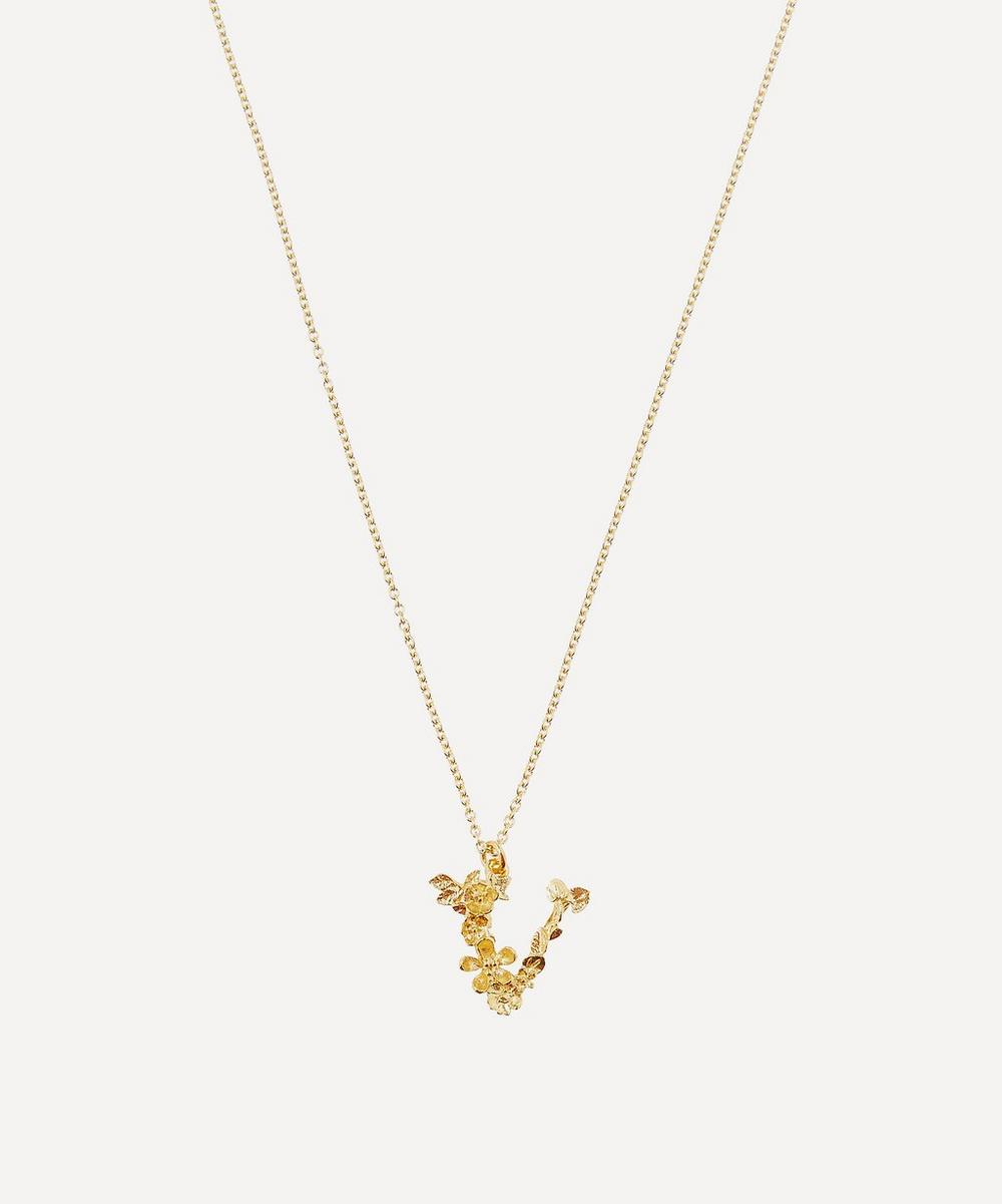 Alex Monroe - Gold-Plated Floral Letter V Alphabet Necklace