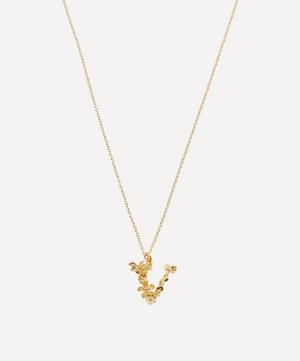 Gold-Plated Floral Letter V Alphabet Necklace
