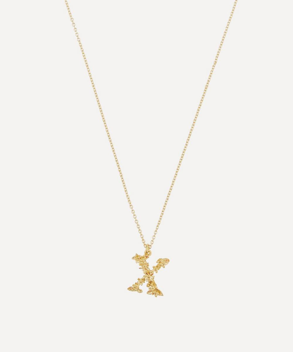 Alex Monroe - Gold-Plated Floral Letter X Alphabet Necklace