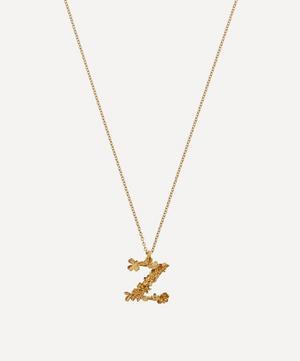 Gold-Plated Floral Letter Z Alphabet Necklace