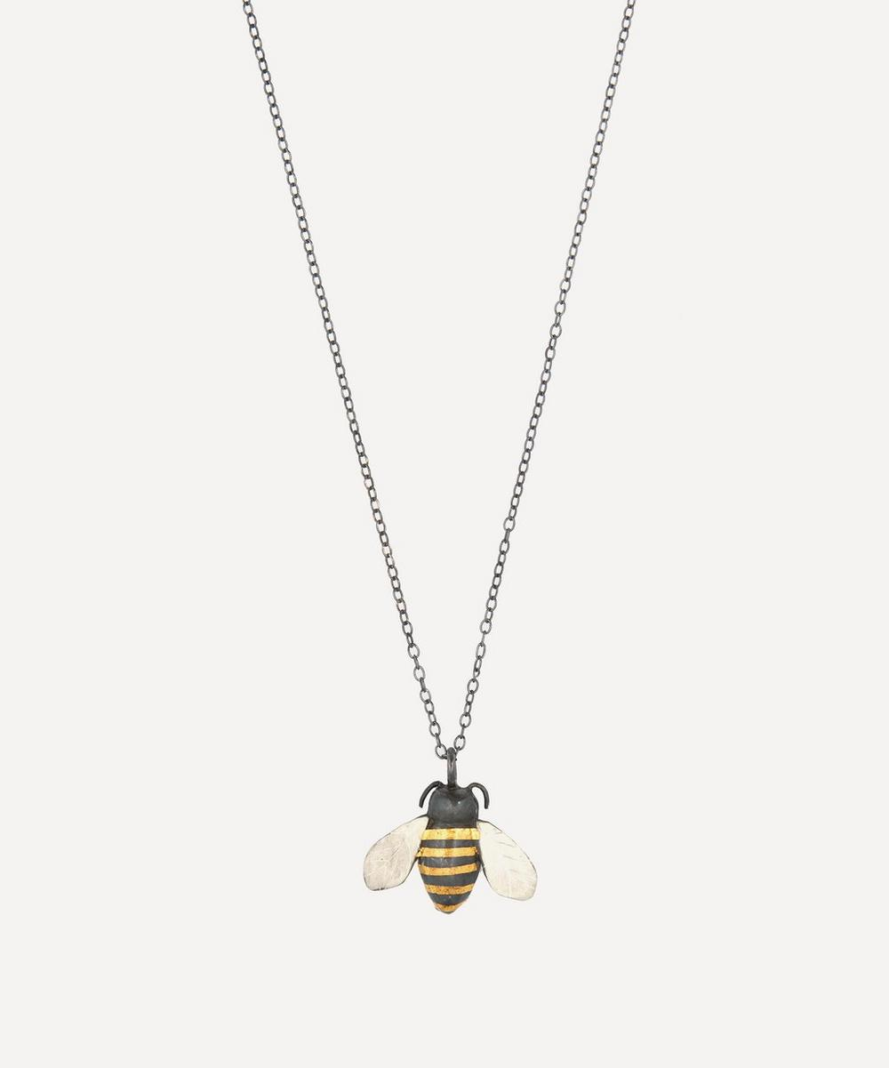 Acanthus - Oxidised Silver Bumble Bee Pendant Necklace