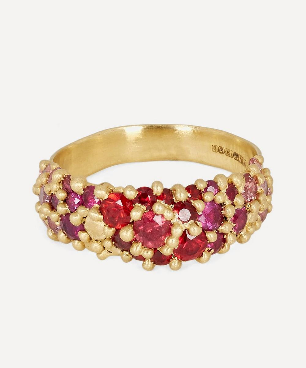 Polly Wales - Gold Plum Blossom Sapphire River Ring