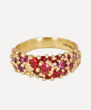Gold Plum Blossom Sapphire River Ring