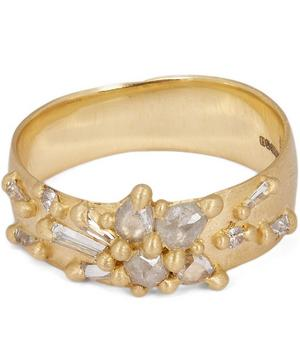 Gold Frosty Diamond Lotus Ring