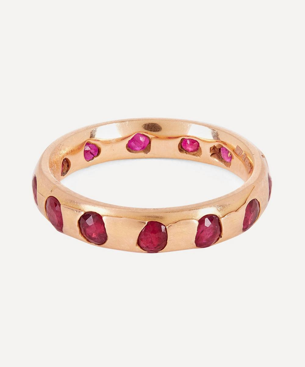 Polly Wales - Rose Gold Celeste Ruby Crystal Ring