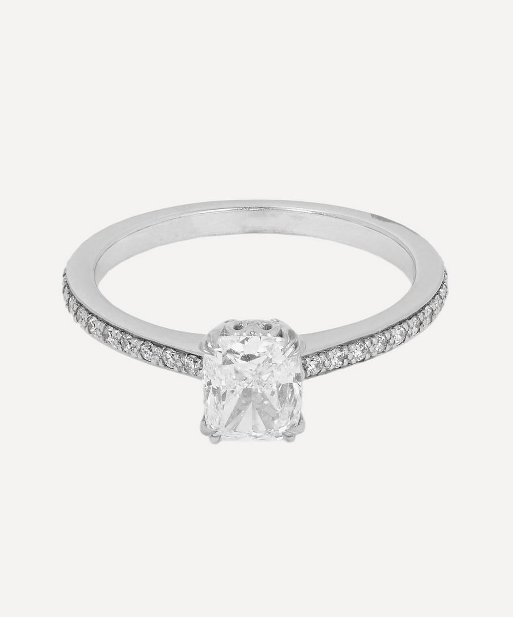 Anna Sheffield - White Gold Hazeline White Diamond Solitaire Ring