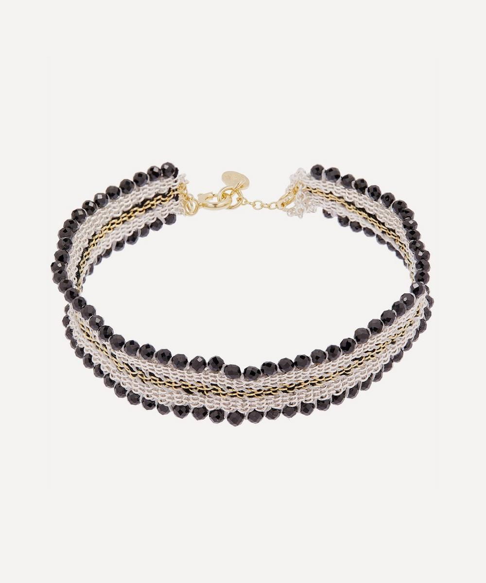 Stephanie Schneider - Silver Beaded Silk Chain Bracelet