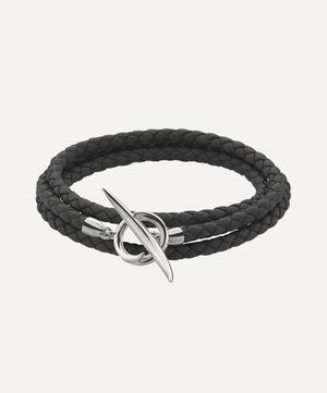 Silver Black Leather Quill Bracelet