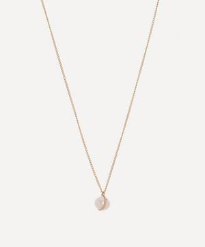 Gold Bezel Wrapped Pearl Necklace