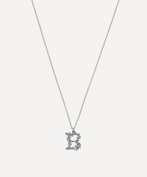 Silver Floral Letter B Alphabet Necklace