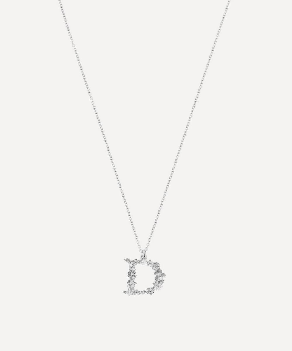 Alex Monroe - Silver Floral Letter D Alphabet Necklace