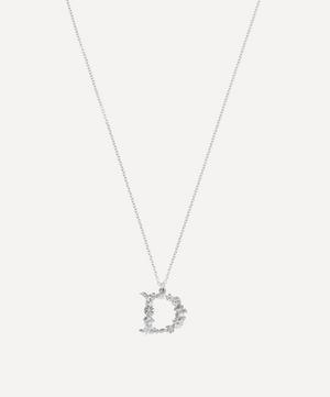 Silver Floral Letter D Alphabet Necklace