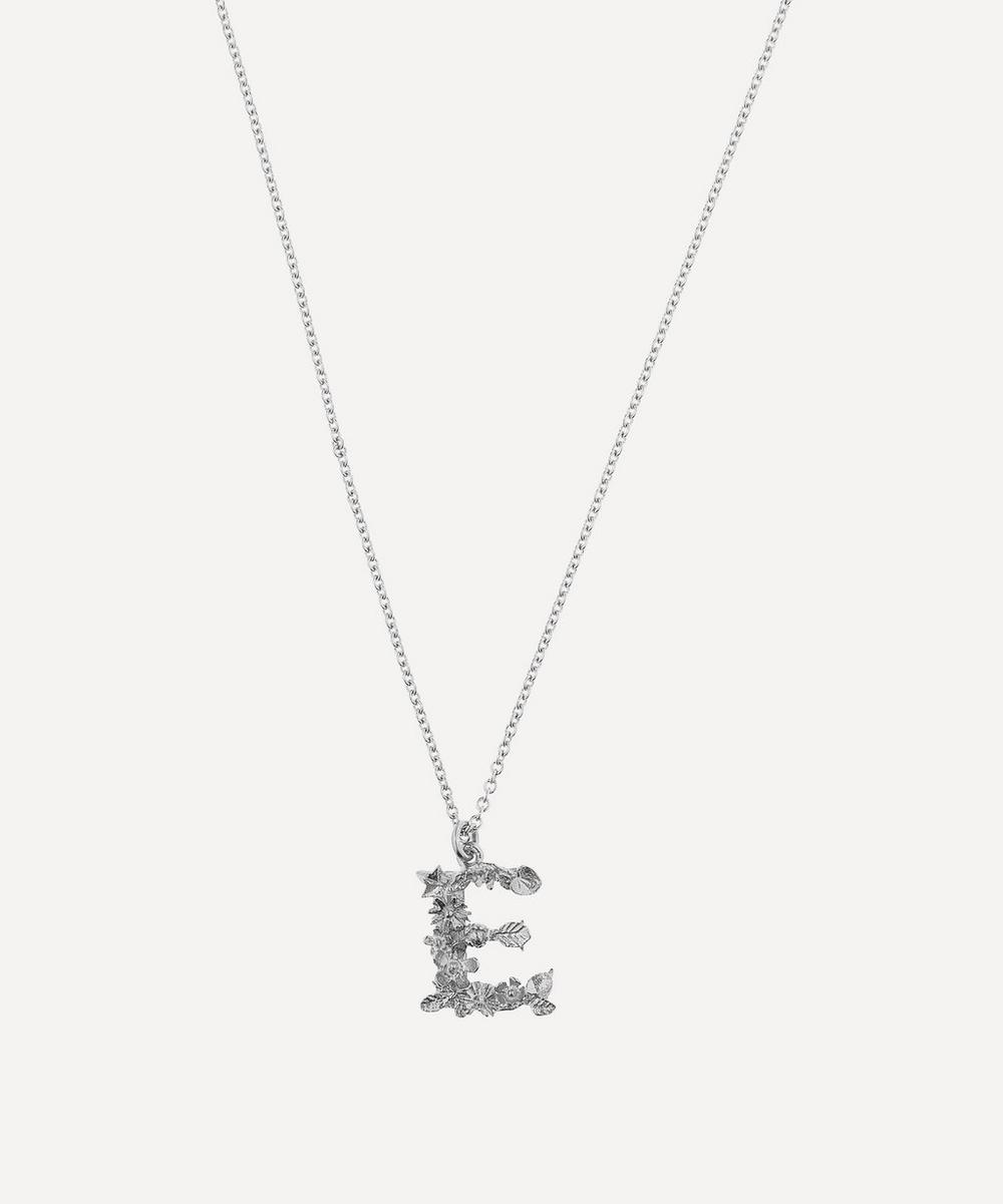 Alex Monroe - Silver Floral Letter E Alphabet Necklace