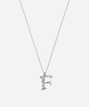 Silver Floral Letter F Alphabet Necklace