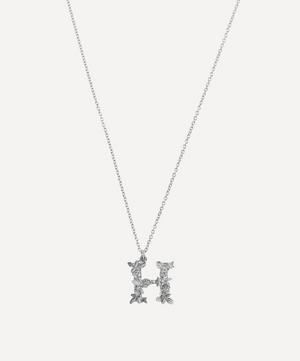 Silver Floral Letter H Alphabet Necklace