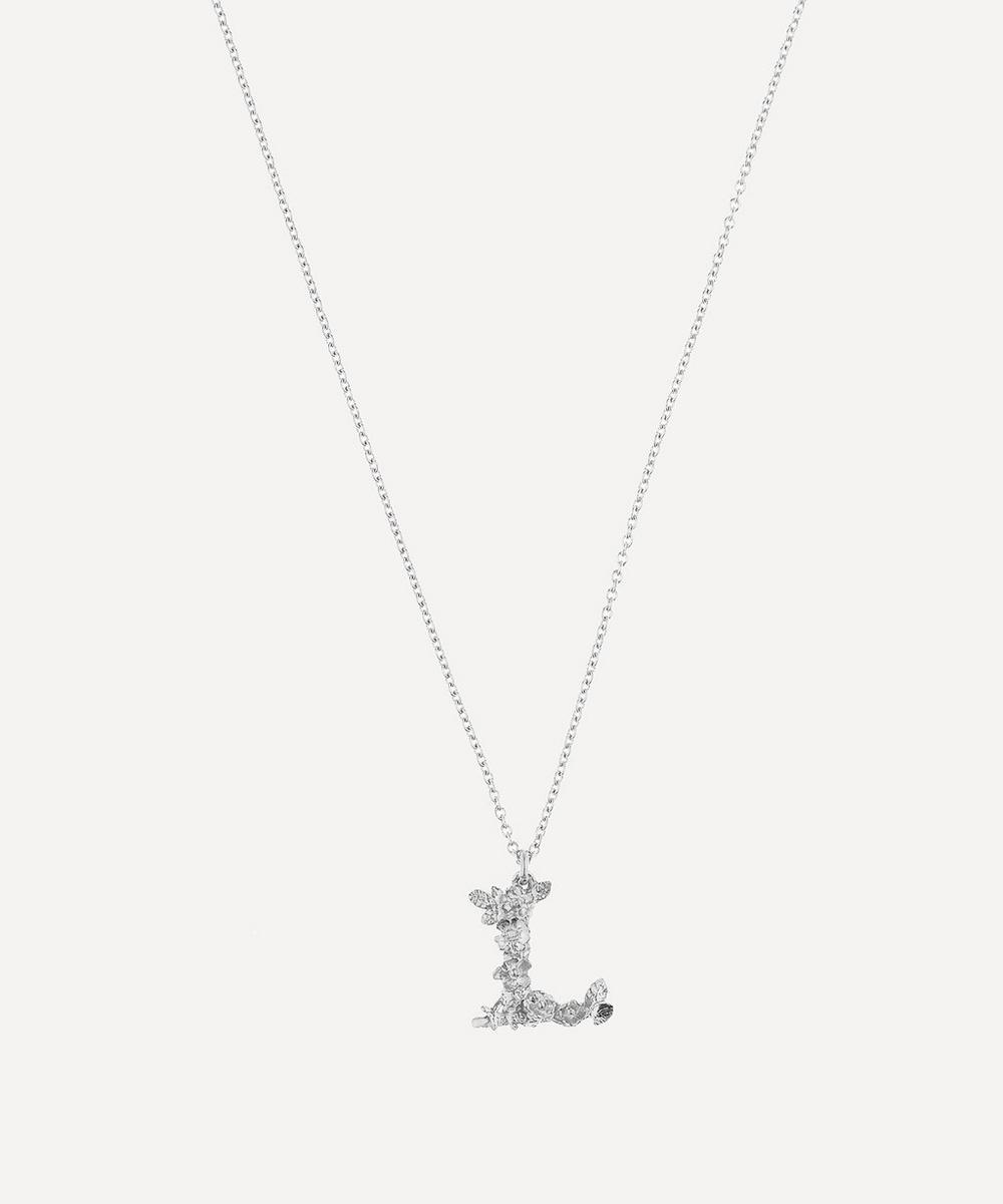 Alex Monroe - Silver Floral Letter L Alphabet Necklace