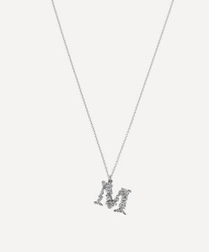 Silver Floral Letter M Alphabet Necklace