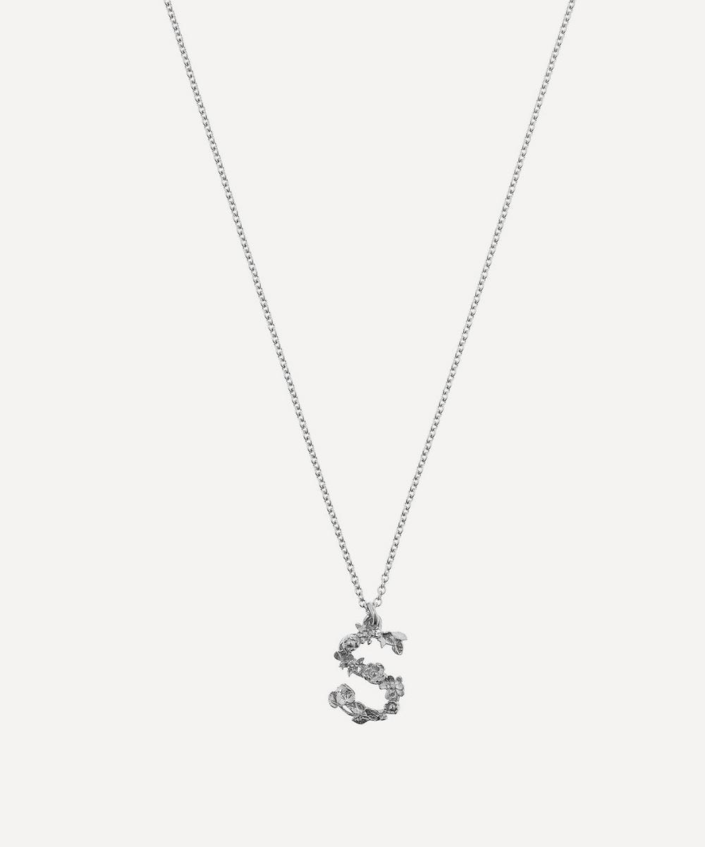 Alex Monroe - Silver Floral Letter S Alphabet Necklace