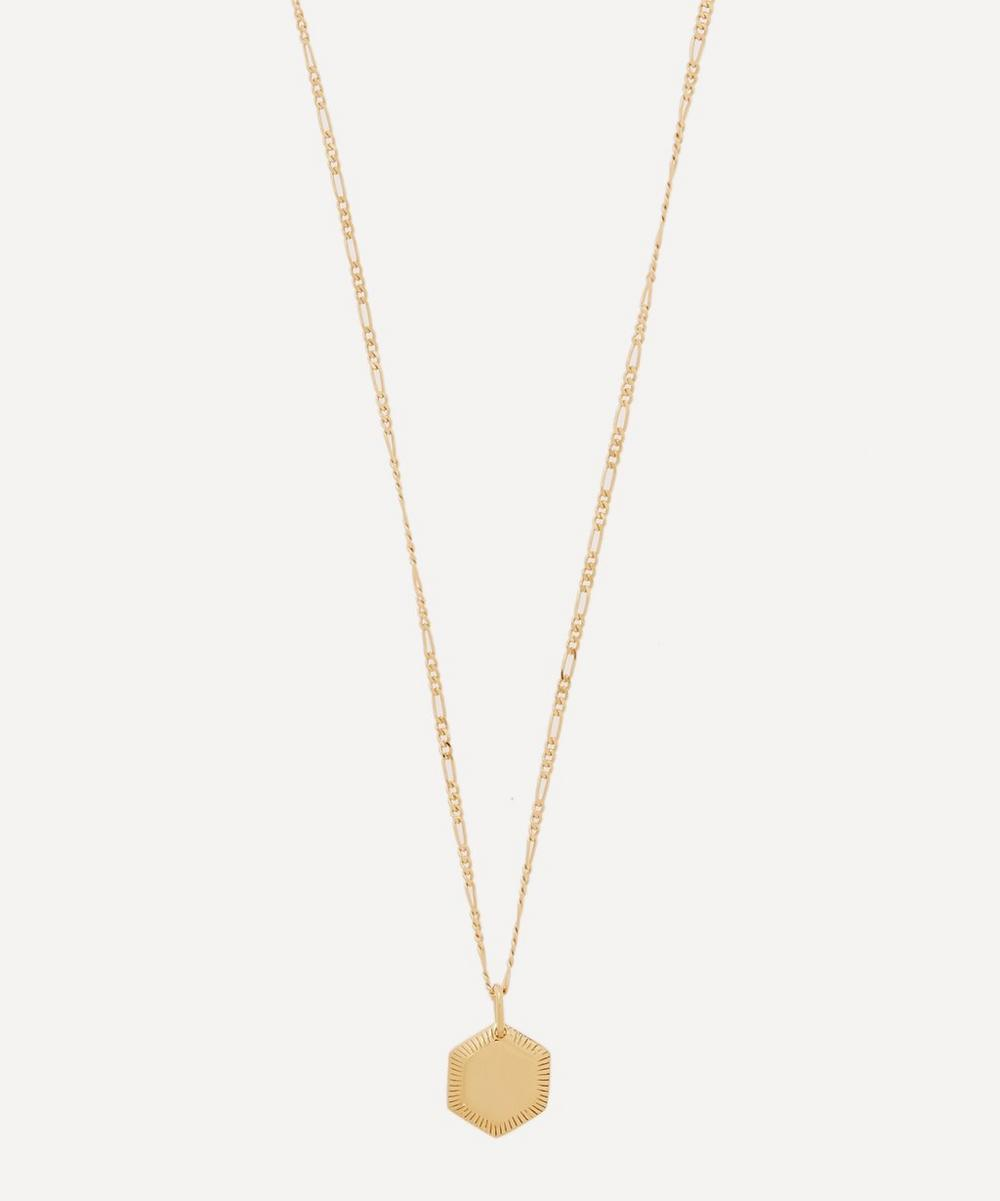 Maria Black - Gold-Plated Kim Hexagon Pendant Necklace