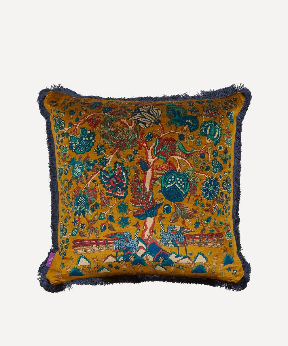 Liberty - Tree of Life Fringed Velvet Square Cushion