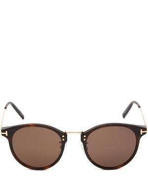 Round Acetate Metal Bridge Sunglasses