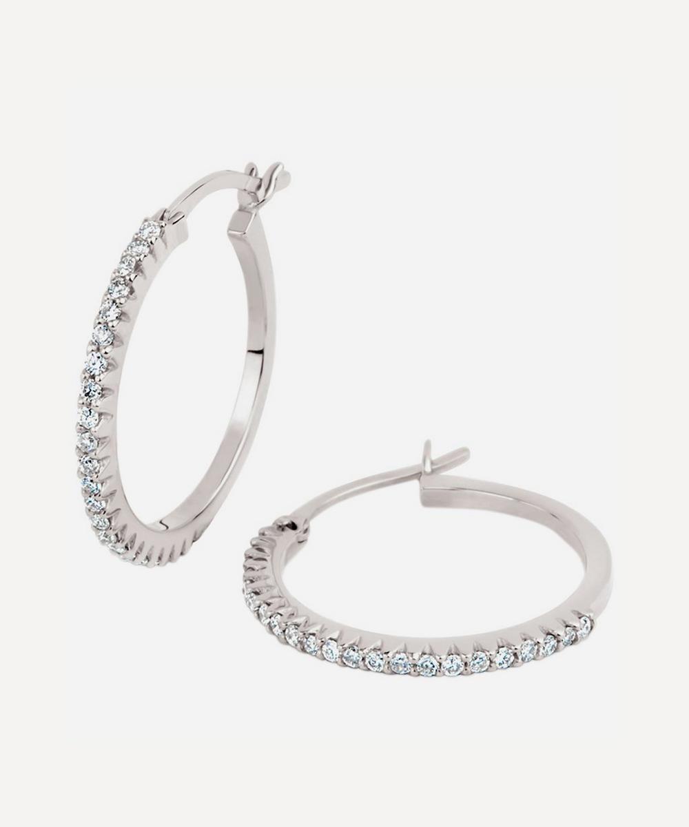 Dinny Hall - White Gold Bijou Micro-Set Diamond Hoop Earrings