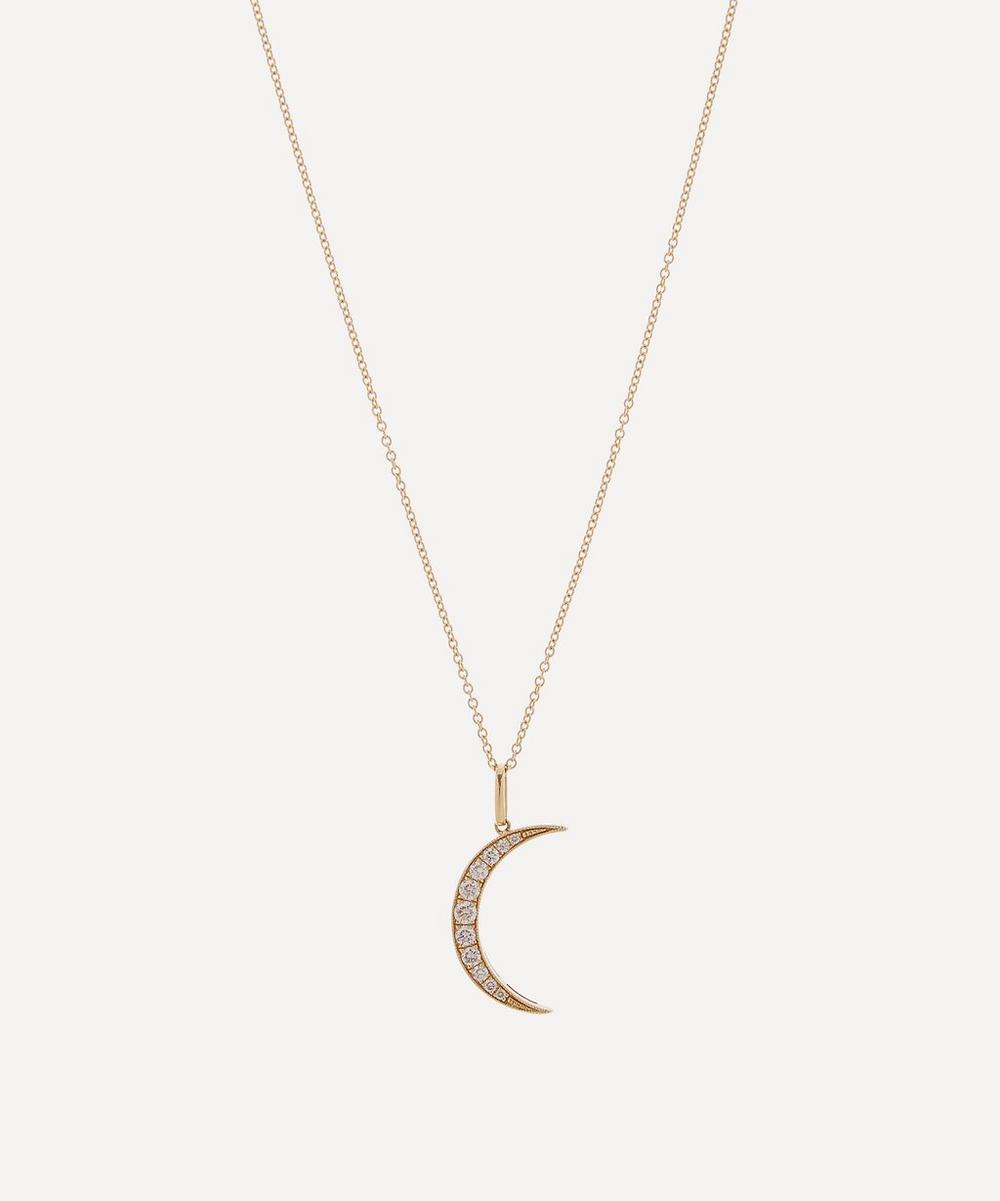Andrea Fohrman - Gold White Diamond Medium Luna Necklace